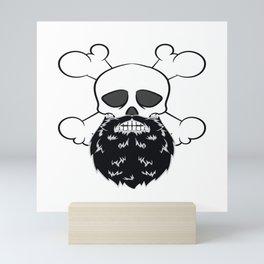 Bearded Pirate Skull without eye Patch Crossbones Skeleton Mini Art Print