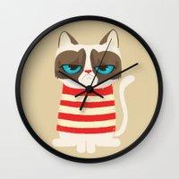 meme Wall Clocks featuring Grumpy meme cat  by UiNi