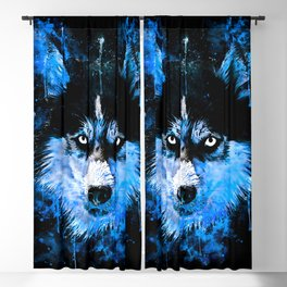 husky dog face splatter watercolor blue Blackout Curtain