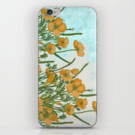 California Poppiess - Vintage inspired print - green orange blue watercolor iPhone Skin