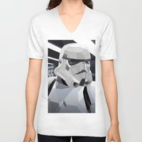 storm V-neck T-shirts featuring Stormtrooper by Liam Brazier