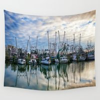 boats Wall Tapestries featuring Harbor Boats by JMcCool