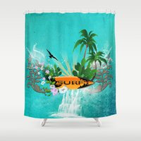 surfing Shower Curtains featuring Surfing by nicky2342