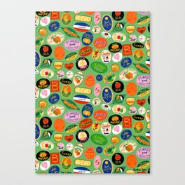 Fruit Stickers Pattern Canvas Print