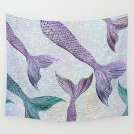 Amethyst and Teal Mermaid Tails Wall Tapestry