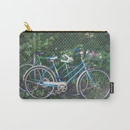 Happy Couples Vintage Bikes with Summer Flowers Carry-All Pouch