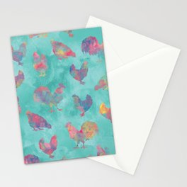 Rainbow Chickens Stationery Cards