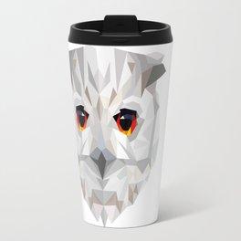 Geometric White Owl Travel Mug