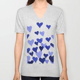 Valentine's Day Watercolor Hearts - blue Unisex V-Neck