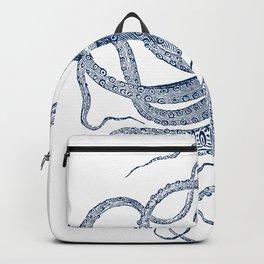 Blue nautical vintage octopus illustration Backpack