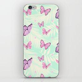 Watercolor pink butterflies iPhone Skin