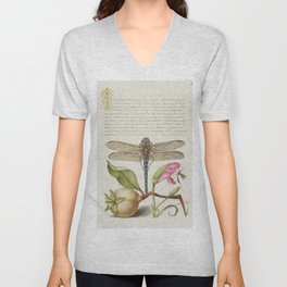 Dragonfly Pear Carnation and Insect from Mira Calligraphiae Monumenta or The Model Book of Calligrap Unisex V-Neck