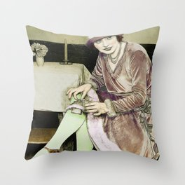 Vintage Woman With Hip Flask Throw Pillow