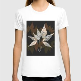 Silver On Brown And Green Leaves Pattern T-shirt