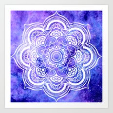 Mandala Violet Blue Galaxy Space Art Print