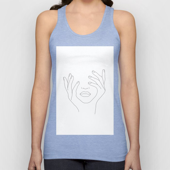 Minimal Line Art Woman with Hands on Face Unisex Tank Top