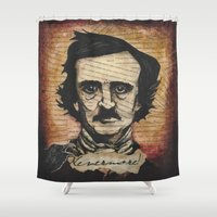poe Shower Curtains featuring Poe by Colunga-Art