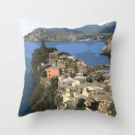 Cinque Terre Seaside Village  Throw Pillow
