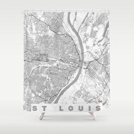 St Louis Map Line Shower Curtain