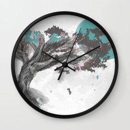 Turquoise Blossom Tree Wall Clock