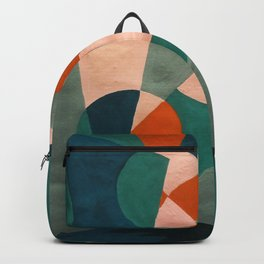 The Sunset & The Mountains Retro Abstract Art - Teal & Burnt Sienna Backpack