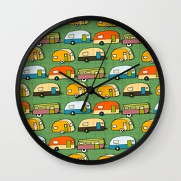 Retro Campers Green #midcentury Wall Clock