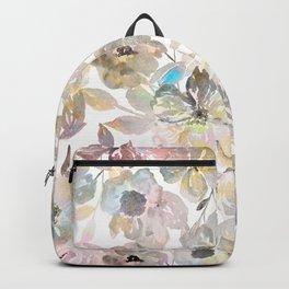 Elegant whimsical grey watercolor roses Backpack