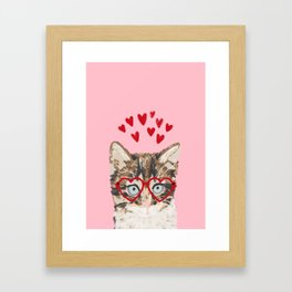 Kitten valentines day love hearts valentine for cat person cat lady must haves Framed Art Print