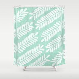 Mint Leaflets Shower Curtain