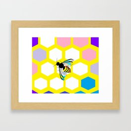 A Yellow Honeycomb and bee with Pink, Blue and Lavender Framed Art Print