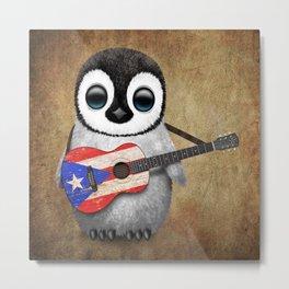 Baby Penguin Playing Puerto Rican Flag Guitar Metal Print