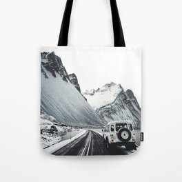 on the road in iceland Tote Bag