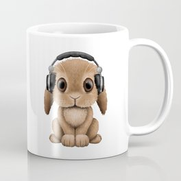 Cute Baby Bunny Dj Wearing Headphones Coffee Mug