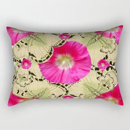 FUCHSIA PINK HOLLYHOCKS YELLOW BUTTERFLIES Rectangular Pillow