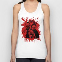 shaun of the dead Tank Tops featuring Shaun of the dead blood splatt  by Buby87