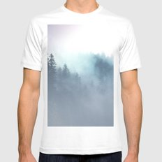 Faded Echos White MEDIUM Mens Fitted Tee
