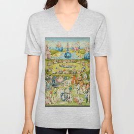 The Garden of Earthly Delights by Bosch Unisex V-Neck