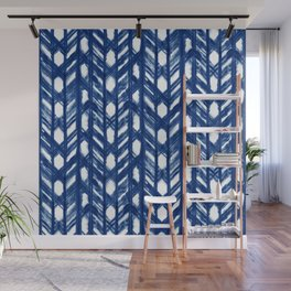 Indigo Geometric Shibori Pattern - Blue Chevrons on White Wall Mural