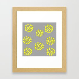 Gray Yellow Geometric Pattern Abstract Framed Art Print