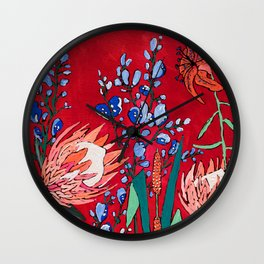 Red and Blue Floral with Peach Proteas Wall Clock