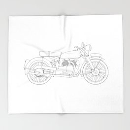 Motor Cycle Outline Throw Blanket