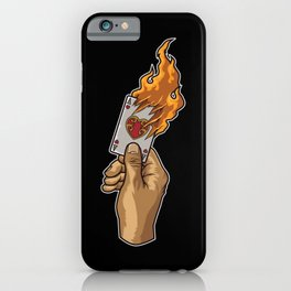 Hand with Burning Ace Card | Poker Luck Gambler iPhone Case