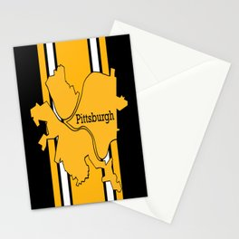Pittsburgh City Map Black Gold Stripes Stationery Cards