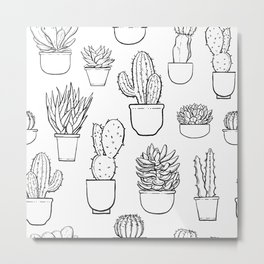 Cactus and Succulent Pattern Metal Print