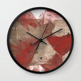 Brown red angular watercolor Wall Clock