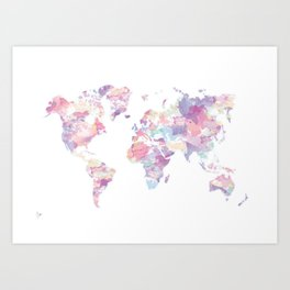 Watercolour World Map (purple) Art Print
