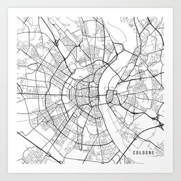 Cologne Map, Germany - Black and White Art Print
