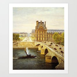 The Pont Royale and The Louvre, View of the Seine by Firmin-Girard Art Print