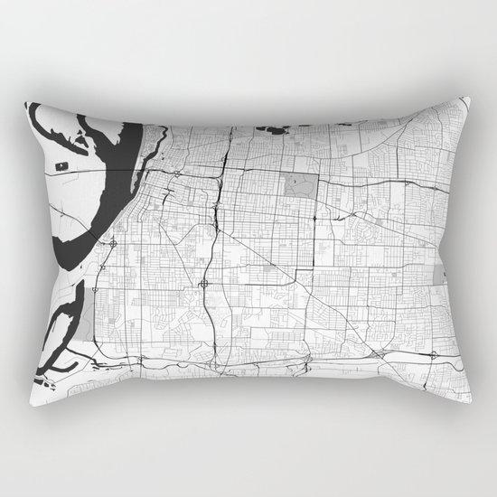 Memphis Map Gray Rectangular Pillow