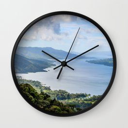 Tropical Vibes Water Mountains Costa Rica Wall Clock